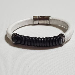 Other - White and Black Men's Distressed Leather  Bracelet